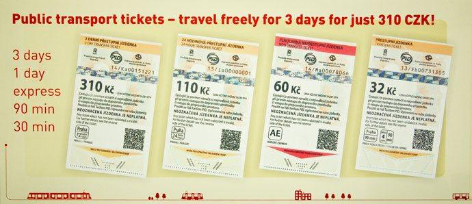 billetes de metro y tranvía de Praga