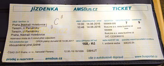 billete a Terezín