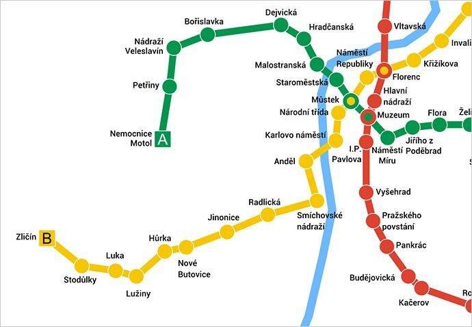 mapa metro praga