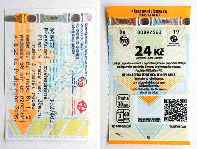 billetes del transporte público de praga