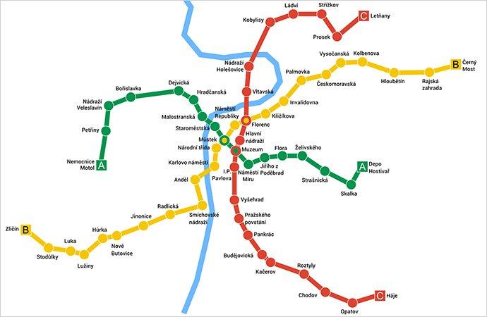 mapa del metro de praga